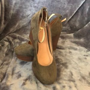Olive green wedge heels with ankle strap